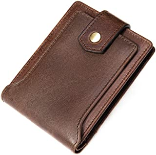 Ultra-thin Men's Genuine Leather Short Wallet-RFID Blocking Coin Purse Large-capacity Card Case, 12×9×1cm