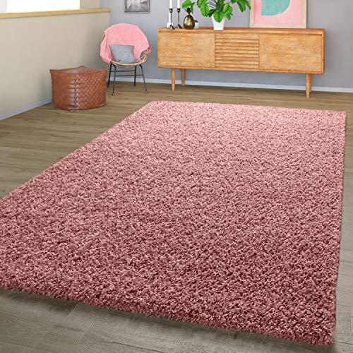 T&T Design Moderner Hochflor Teppich Shaggy Einfarbig Dicht Gewebt Qualität Pink, Größe:160x220 cm
