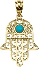 Fine 14k Yellow Gold Hamsa Hand with Blue Stone Evil Eye Pendant