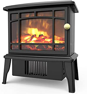 OPOLAR Mini Portable Electric Fireplace Heater, Small Desktop Space Heater with Realistic Log Fuel Effect, Space-Saving, Over-Heating Protection, A Perfect Decoration for Home Office-500W