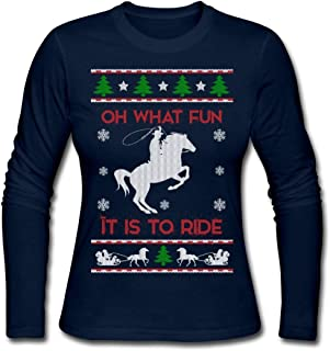 Horse Riding Ugly Christmas Sweater Women's Long Sleeve Jersey T-Shirt