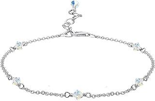 Femme Cha/îne de cheville en argent 925/avec cristaux Swarovski Crystal dans la couleur Crystal Cristal r/éseau