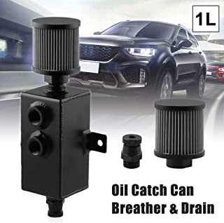 RYANSTAR Oil Catch Can Tank with Breather & Drain Tap 1L (1000 ml) Baffled Reservoir Tank Aluminum Black