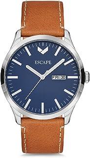 ESCAPE Men's Tahoe 42MM 3 Hand/Date Silver Case on Peanut Leather Strap Watch