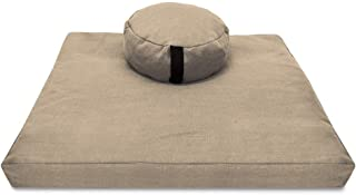 Bean Products Zafu & Zabuton Meditation Cushion Set - Round & XL Oval - Handcrafted in The USA with Organic Materials - Re...