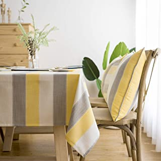 LINENLUX Stylish Square Rectangular Tablecloth/Table Cover for Kitchen Dinning Tabletop Decoration Yellow Striped Square/Round 55 X 55 in