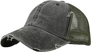 Unisex Baseball Visor Cap - Ponytail Messy Buns Trucker Plain Men Women Hat Adjustable Saturday Cap