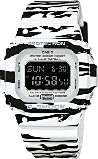 G-Shock BLACK AND WHITE Series TIger Striped Mens Resin Watch DWD5600BW-7 Digital World Time Shock Water Resistant Alarm