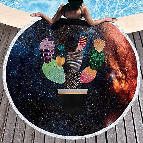 Boyouth Toalla de playa redonda, diseño abstracto de cactus en la galaxia patrón impresión playa Mat con borlas ultra suave súper absorbente de agua, toalla multiusos de 59 pulgadas de diámetro