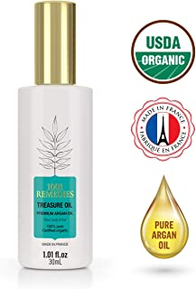 1001 Remedies Argan oil For Hair, Dry Skin, Nails- Moroccan Hair Oil- 100% Pure, Certified Organic & Cold Pressed