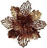 GL-Turelifes - Paquete de 12 flores de Pascua artificiales con purpurina para...