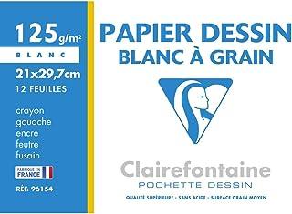 Clairefontaine 96154C - Une pochette Dessin à grain blanc 12 feuilles 21x29,7 cm 125g