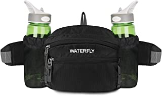WATERFLY Fanny Pack with Water Bottle Holder Hiking Waist Packs for Walking Running..
