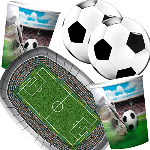 Folat/Carpeta 37-teiliges Partyset * Fussball Stadion * mit Teller + Becher + Servietten + Deko // Geburtstag Set Partygeschirr Deko Party Mottoparty Motto Fußball Soccer