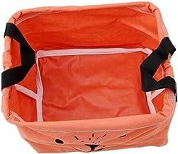 Sawyerda kubussen linnen en katoenen organizer mand opbergdoos met katoenen touw handvat, oranje