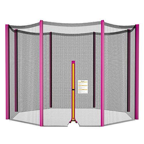 ULTRAPOWER SPORTS Rete di Sicurezza Recinzione per Trampolino | Rete di Ricambio per trampolini Ø 244 cm | per 6 Poli | Porta d'ingresso con Cerniera | Rosa | Solo Rete