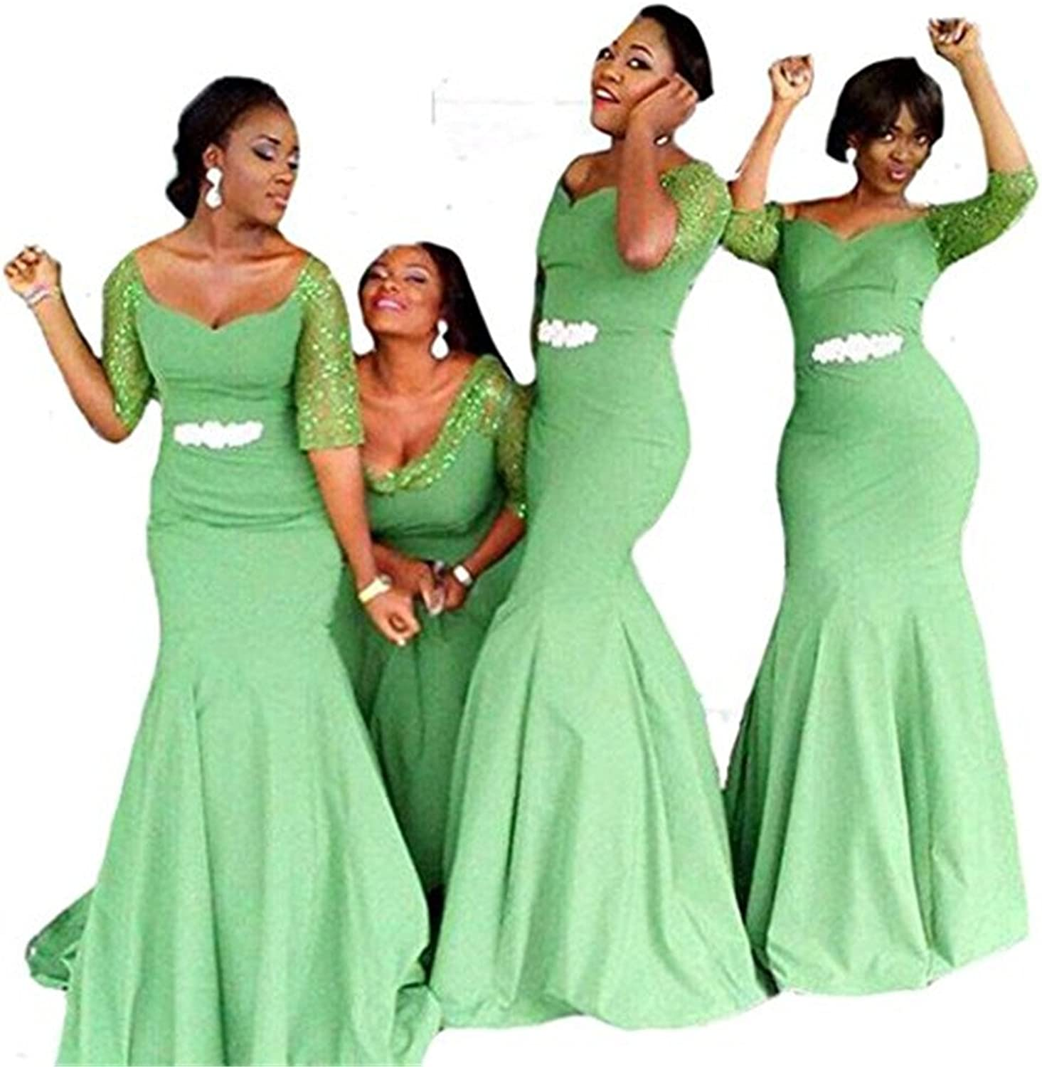 Chenghouse Mermaid Bridesmaid Dresses Half Sleeves Prom Party Gowns