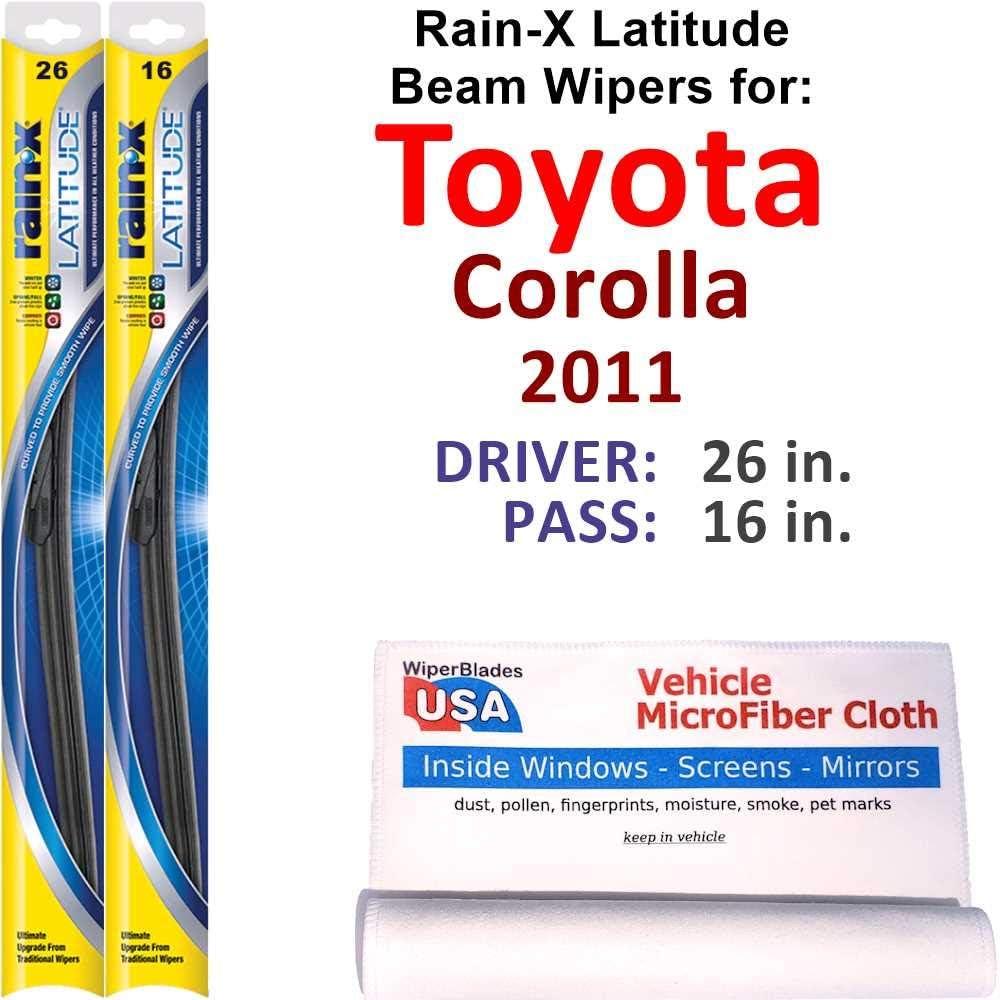 Rain-X Latitude [Alternative dealer] Beam Wiper Blades for 2011 Ra Toyota Superlatite Corolla Set