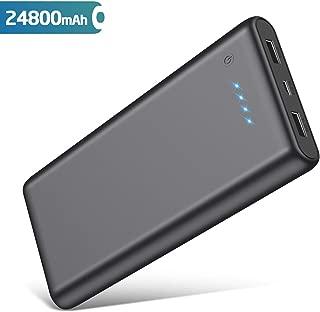 QTshine Batería Externa 24800mAh Power Bank Portatil con 2 Salidas USB carga rápida máx. 2,1A para Móvil y Tablets, Ultra Capacidad y compacto [150x75x15mm] Cargador Portatil con Carga Inteligente