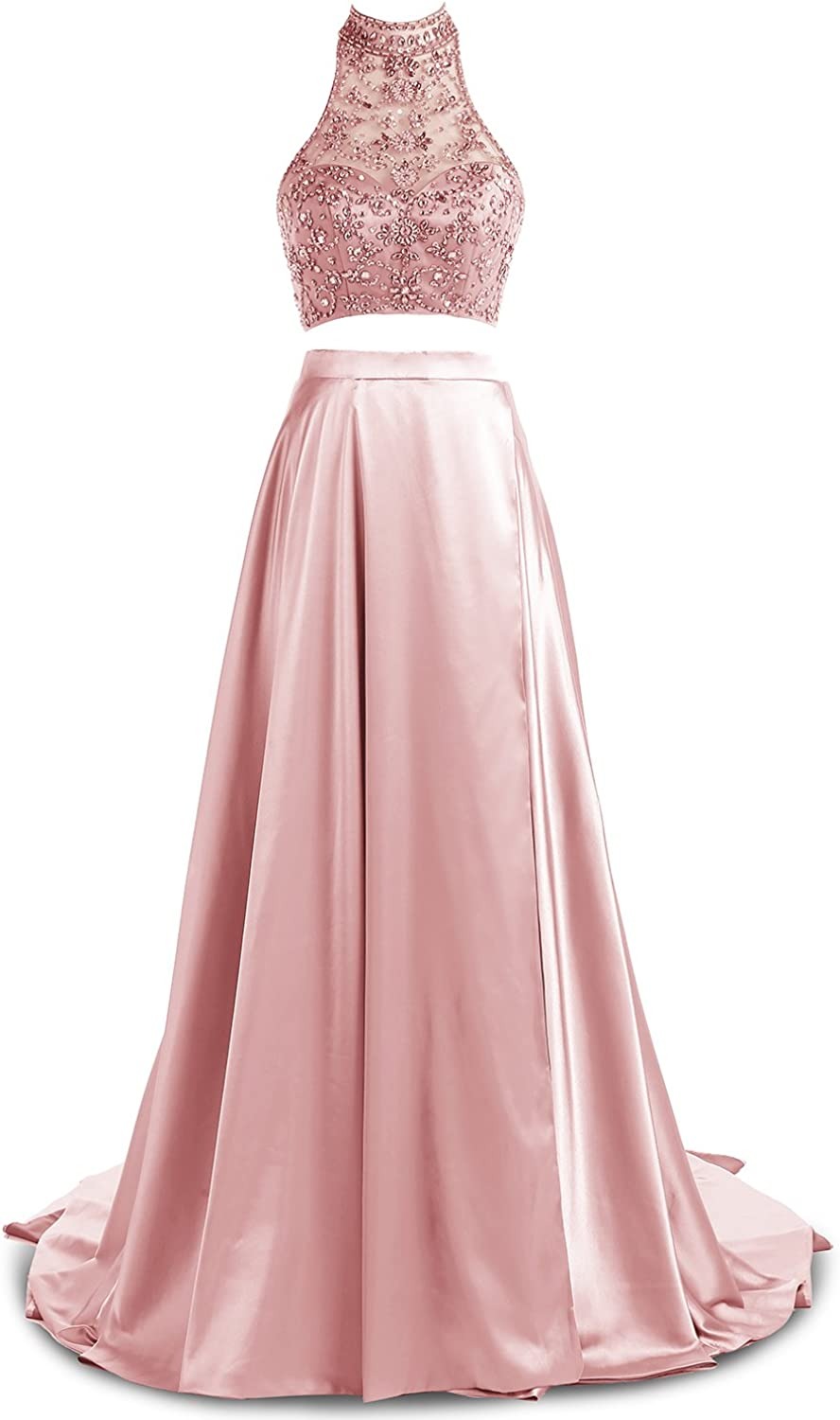 Gardenwed TwoPiece Beaded High Neck Long Evening Prom Dresses 2017