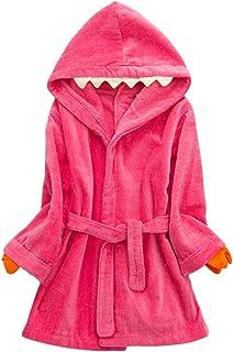 Niños Albornoz con Capucha Niños Niñas Pijama Ropa de Dormir para 3-5 Años, Rojo