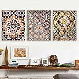 Marroquí Impresión de arte de pared Mosaico Arte oriental Pintura en lienzo Cartel árabe Estilo bohemio Cuadros de pared para la decoración del dormitorio de la sala de estar | 45x60cmx3 Sin marco