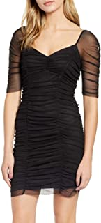 1.State | Heritage Bloom Ruched Mesh-Sleeve Body-Con Dress | Rich Black