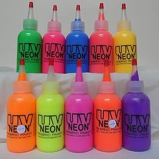 UV Black Light Fabric Material Paints Set 10 x 1oz Squeeze pots