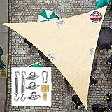 DURAM Sonnensegel Sonnenschutz und Befestigungs Kit für Outdoor Garten,Dreieckig Outdoor Sun Segel Sonnensegel Befestigung Set UV-Schutz für GartenTerrasse Camping(3 * 3 * 3m)