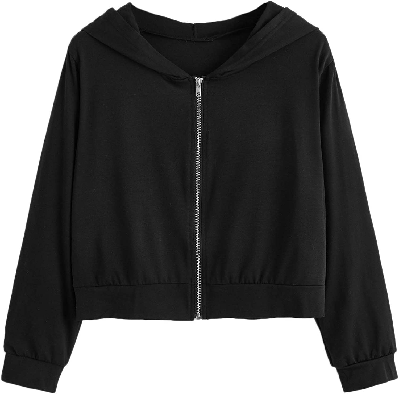 Verdusa Women's Casual Zip Up Front Long Sleeve Hoodie Outerwear Crop Top