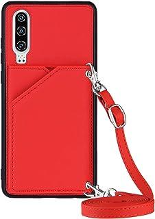 Lanyard plånbok kreditkortsfodral mobiltelefonfodral för Huawei P30 (röd)
