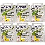 MARUTO Aalhaken Aal Haken Aalangeln Wurmhaken, Angelhaken zum Aalfischen, rote Haken fertig gebunden für Aale, Größe:6