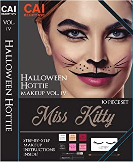 10-Piece Makeup Set Halloween Hottie Costume FX Face Paint Make Up Kit for Adults, Miss Kitty Cat