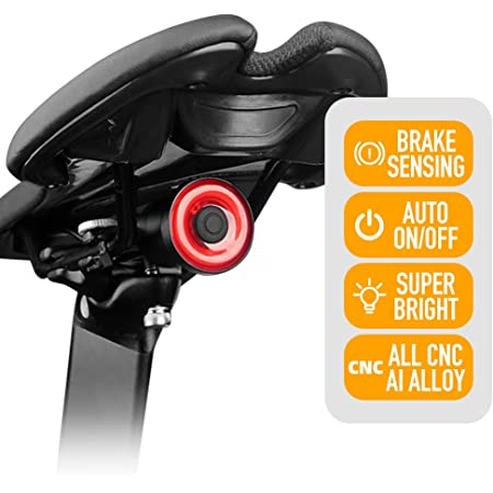 Durable Bicycle Smart Brake Light Sense LED USB Bike Rear Tail Light Waterproof