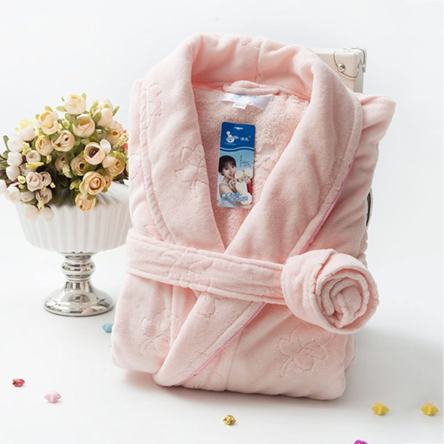 GJM Shop Cotton Towel Material Pajamas Thickening Keep Warm Adult Bathrobe Couple Models Nightgown Home Clothes (color   2)