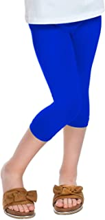 Janisramone Girls Kids New Plain Stretchy Basic 3/4 Capri Leggings Children Summer Tights Cropped Pants