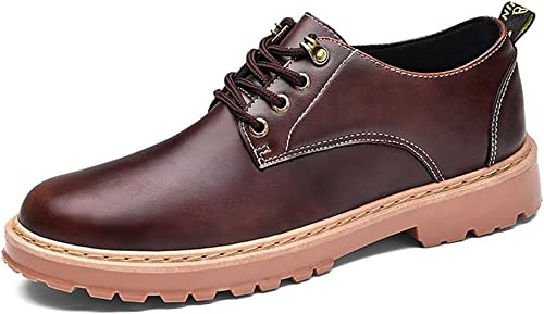 Z.L.F Herren Oxfords Schuhe Mode Flache Ferse Einfarbig Lace Up PU Leder Business Formelle Schuhe (Farbe   Dunkelbraun, Größe   7MUS)