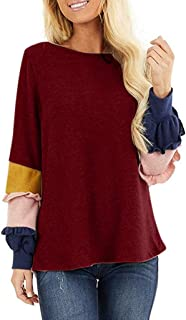 Moilant Women T Shirts Color-Block Sleeves Tops Loose O-Neck Blouse Tunics