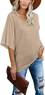 Women's Blouse Tops Loose V Neck 3/4 Bell Sleeve T-Shirt