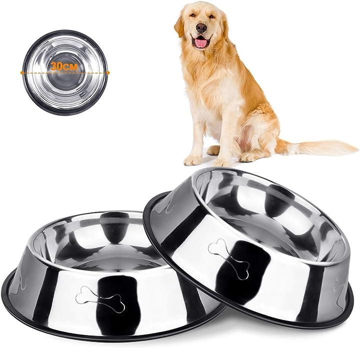 Ciotola per cani in acciaio inox, antiscivolo, 2 pezzi, in acciaio inox vikedi pets B0814YQXSX