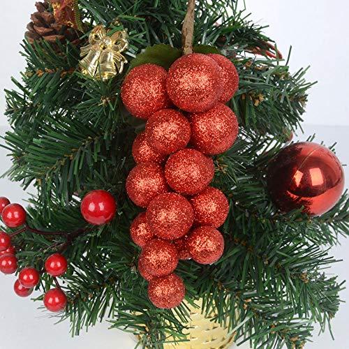 TOORY Mural 5 Corde Decorazioni Natalizie Simulazione Di Frutta Natalizia UVA Frutta Ornamenti Per Alberi Di Natale Accessori Decorazione Forniture-Sezione Rossa