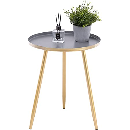 """APICIZON 16"""" Round Side Table, Gold End Table for Living Room, Bedside, Mid Century Modern Coffee Table or Circle Accent Table for Small Spaces, Metal Nightstand (Gold)"""