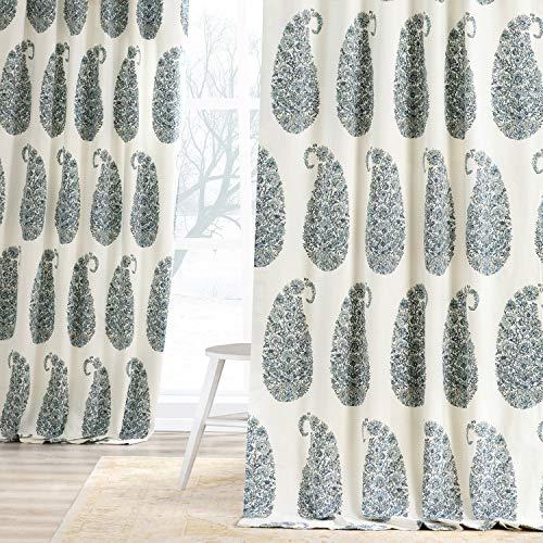 HPD Half Price Drapes PRTW-D42A-120 Printed Cotton Twill Curtain (1 Panel), 50 X 120, Blue