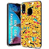 TalkingCase Clear Thin Gel Phone Case for Samsung Galaxy A10E,SM-A102U,Square Emojis Crowd Print,Light Weight,Ultra Flexible,Soft Touch,Anti-Scratch,Designed in USA
