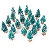 6MILES Artificial Mini Sisal Christmas Trees Snow Frost with Wooden Bases for Home Party Decoration Ornament DIY Craft (Blue-Green, 20 pcs)