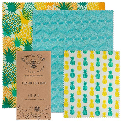 Lilybee Beeswax Wrap Reusable Food Wraps | 3 Pack Sustainable Zero Waste Bees Wax Food Wrappers | Biodegradable & Plastic Free (Grandale Cottage, 3 Pack)
