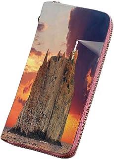 灯台の装飾 印刷済みPU長財布 ポートランドハウスアットドーンロックスハウスフェンスランプイメージナビゲーション ラウンドファスナー 大容量 小銭入れ 紳士
