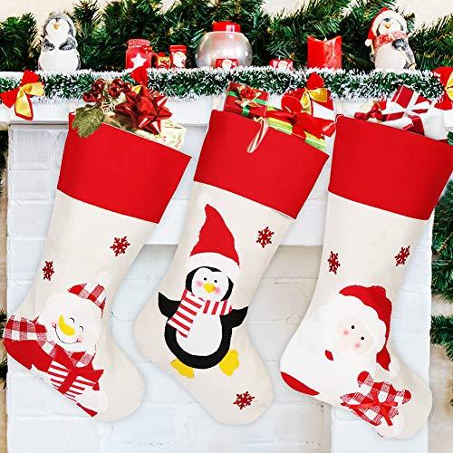 HOSPAOP Nikolausstiefel zum Befüllen, 3Pack Weihnachsstrumpf, Nikolaussocken groß, Nikolausstrumpf mit weihnachtlicher Stickerei, Hängende Strümpfe für Weihnachtsdeko