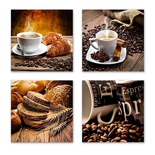 Küchen Bilder Set D schwebend, 4-teiliges Bilder-Set jedes Teil 29x29cm, Seidenmatte Optik auf Forex FineArt Print, Moderne Optik, UV-stabil, wasserfest, Deko für Büro, Wohnzimmer, Kaffee Obst Wein