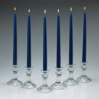 Elegant Cobalt Blue Unscented Taper Candles 12 Inch Tall 3/4 Inch Thick Set of 12 Burn 10 Hours